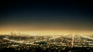 Stock Video Footage of Los Angeles cityscape at night.