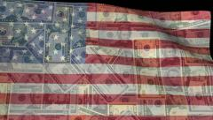 Rippling American flag blends into dollars animation Stock Footage