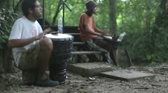 Palenque drummers mexican jungle Stock Footage