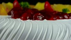Delicious fruit cake,cherry,tomato,pineapple. Stock Footage