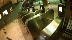 Subway Turnstyles 01 HD Stock Footage