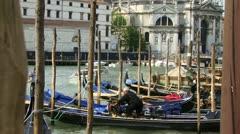 Gondolas moored Stock Footage