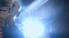 Stock Video Footage of Stock video footage welder large factory floor industry