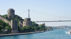 ISTANBUL, TURKEY: Fatih Sultan Mehmet Bridge and Rumelihisarı fortress. Stock Footage