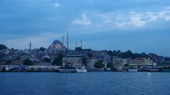 ISTANBUL, TURKEY: View to the Süleymaniye Mosque from Golden horn harbor. Stock Footage