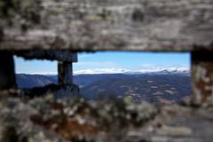 Mountainrange seen through signpost Stock Photos