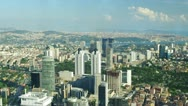 Stock Video Footage of Aerial view of modern buildings and Bosphorus strait in Istanbul, Turkey.