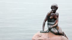 Statue which depict character from fairy tale Little Mermaid Stock Footage