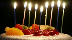 Lit the candles on the cake. Stock Footage