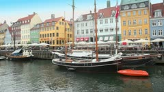 Panorama of Nyhavn canal in Copenhagen at day Stock Footage