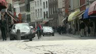 Stock Video Footage of Historic Cobbled Street in Bruges, Belgium