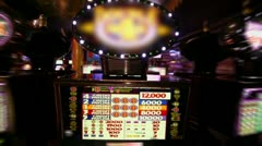 Play machine with blinking illumination, closeup view in motion Stock Footage
