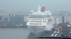 Huge liner stands in dock of Copenhagen. Stock Footage