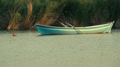 Small Rowing Boat on the lake Stock Footage