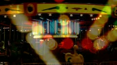 Surreal Empty Night Carousel With Spinning Lights Stock Footage