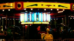 Surreal Empty Carousel Ride At Carnival At Night Stock Footage