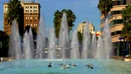 Stock Video Footage of Seagulls Landing On Downtown Long Beach Fountain