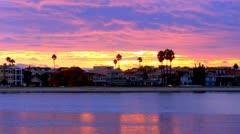 Beach House Sunset- Alamitos Bay, Long Beach CA 2 Stock Footage