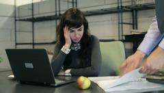 Stock Video Footage of Businesswoman in office gets reprimand from her boss HD
