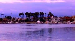 Beach Houses And Boats At Dusk- Alamitos Bay, Long Beach CA 2 Stock Footage