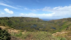 Easter Island Rano Kau crater c2 Stock Footage