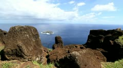 Easter Island Orongo bird island c2 Stock Footage