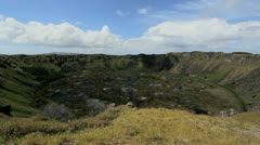 Easter Island Rano Kau crater c4 Stock Footage