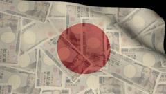 Rippling Japanese flag blends into currency animation Stock Footage