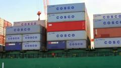 Stacks of cargo containers Stock Footage