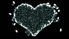 Sweet love and Valentine: black and white Candies heart shape. Alpha is included Stock Footage