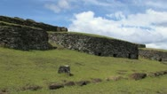 Easter Island Orongo round ceremonial huts 3a Stock Footage