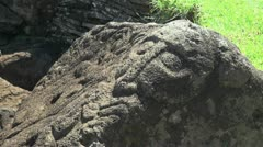 Easter Island Orongo petroglyph relief mask 2 Stock Footage