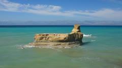 Rock, Corfu coasline Stock Footage