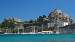 Old fort in Corfu town Stock Footage