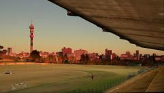 Joburg Skyline from Stadium at Sunset HDR GFHD Stock Footage