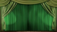 Theatre curtains fabric velvet green Stock Footage