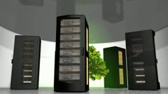 Eco-friendly server room, technology, rack, tree. Stock Footage