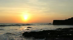 Sunset - Ocean - Near Tanah Lot Temple - Bali Stock Footage