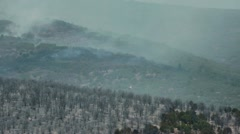 Helicopter fire fighter fly over wildfire burn P HD 0580 Stock Footage