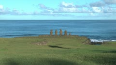 Easter Island Ahu Vai Ure circular wall zoom in 2 Stock Footage