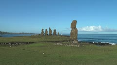 Easter Island Ahu Tahai and Vai Ure platform borders 4a Stock Footage
