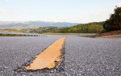dividing line of the freeway - stock photo