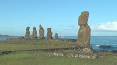 Rapa Nui Tahai statues p4 Stock Footage