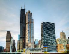cityscape of  chicago in the evening - stock photo