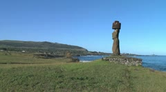 Easter Island Tahai Complex Ahu Ko Te Riku moai profile on cove 6b Stock Footage