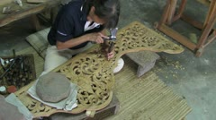 Wood Carving in Thailand Stock Footage