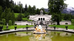The fountain in Linderhof Palace. Germany, Bavaria Stock Footage