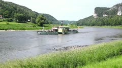 Ship on the  Elbe river near Rathen. Stock Footage