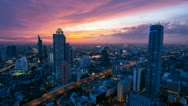 Stock Video Footage of TIMELAPSE OF BANGKOK SKYLINE AT SUNSET