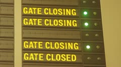 Gate closing message in airport Stock Footage